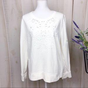 J. Crew White Floral Lacey Eyelet Sweatshirt
